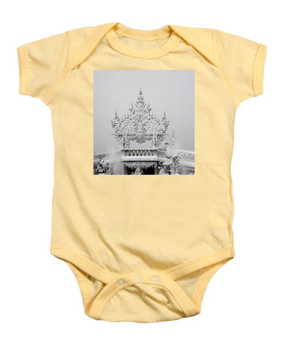 B&w Baby Onesie featuring the photograph Temple by Shaun Higson