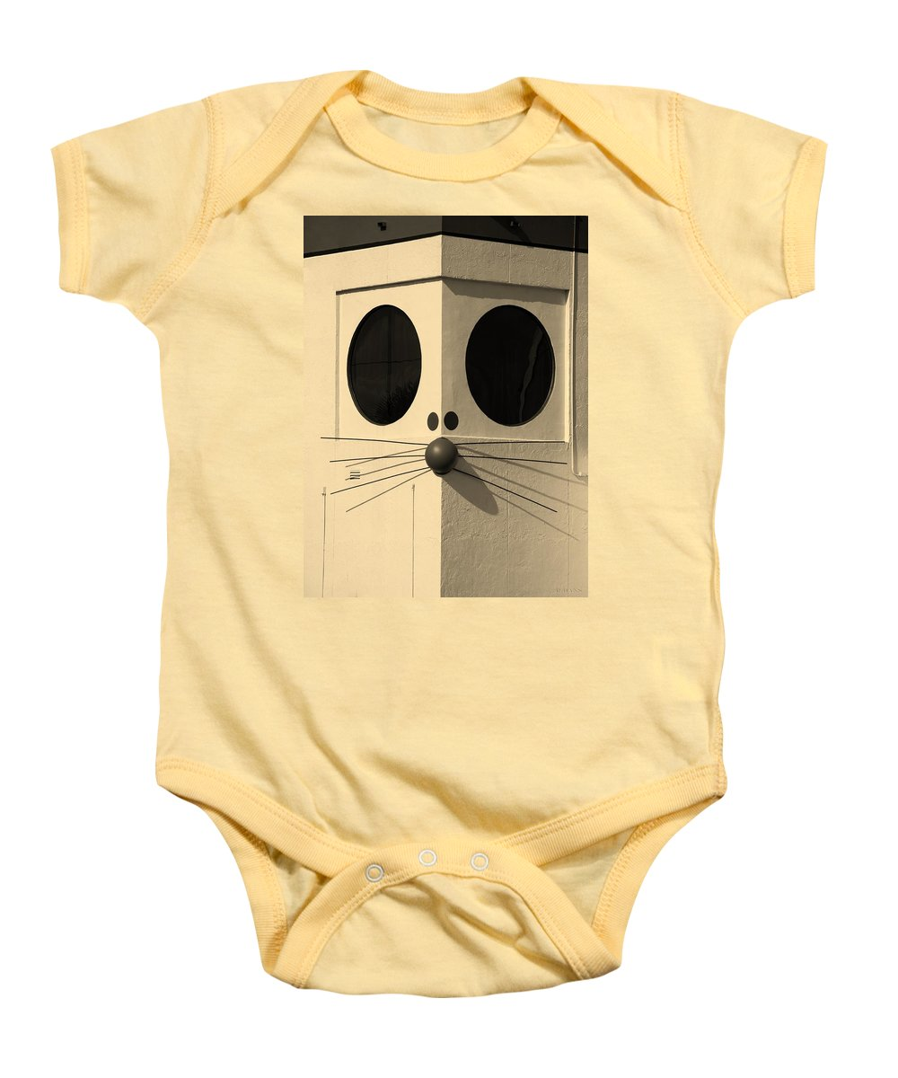 Rat Baby Onesie featuring the photograph Truly Nolen Rat In Sepia by Rob Hans