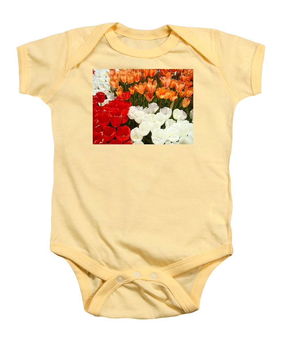 Tulip Baby Onesie featuring the photograph Tulip Flowers Festival Art Prints Floral Baslee by Baslee Troutman