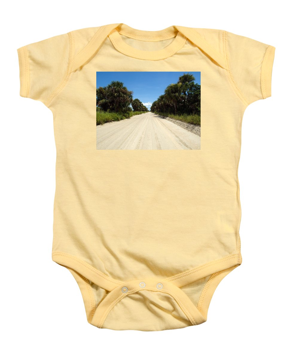 Florida; Road; Back; Backroad; Central; Dirt; Plow; Plowed; Clay; Mud; Muddy; Places; Unknown; Trave Baby Onesie featuring the photograph Back Road In Central Florida. by Allan Hughes