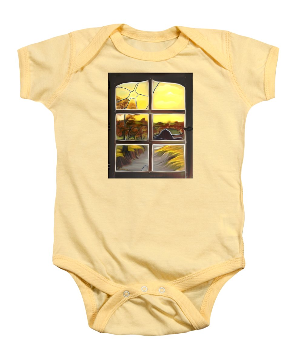 Farm Baby Onesie featuring the painting Broken Window Dreamy Mirage by Claude Beaulac