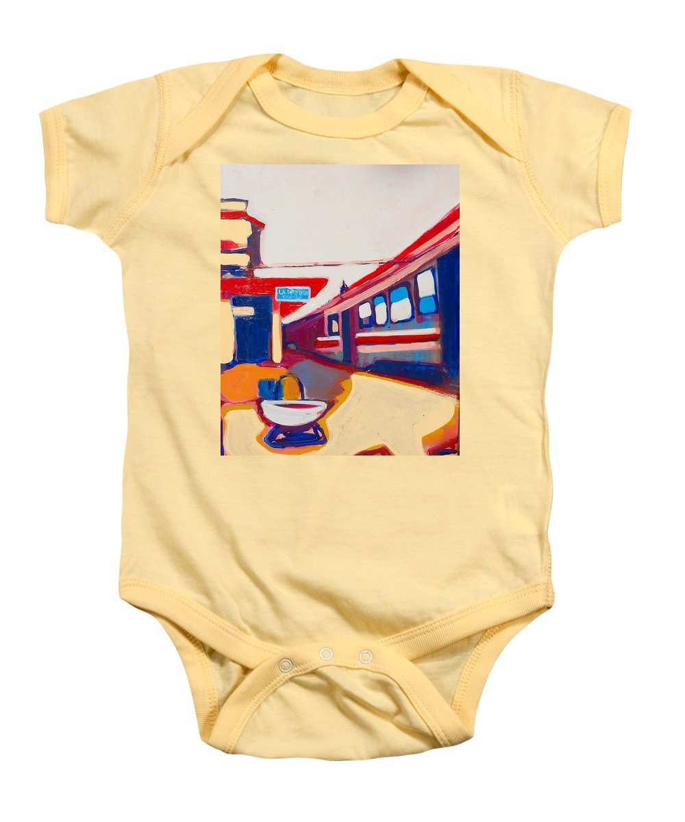 Train Station Baby Onesie featuring the painting Locale by Kurt Hausmann