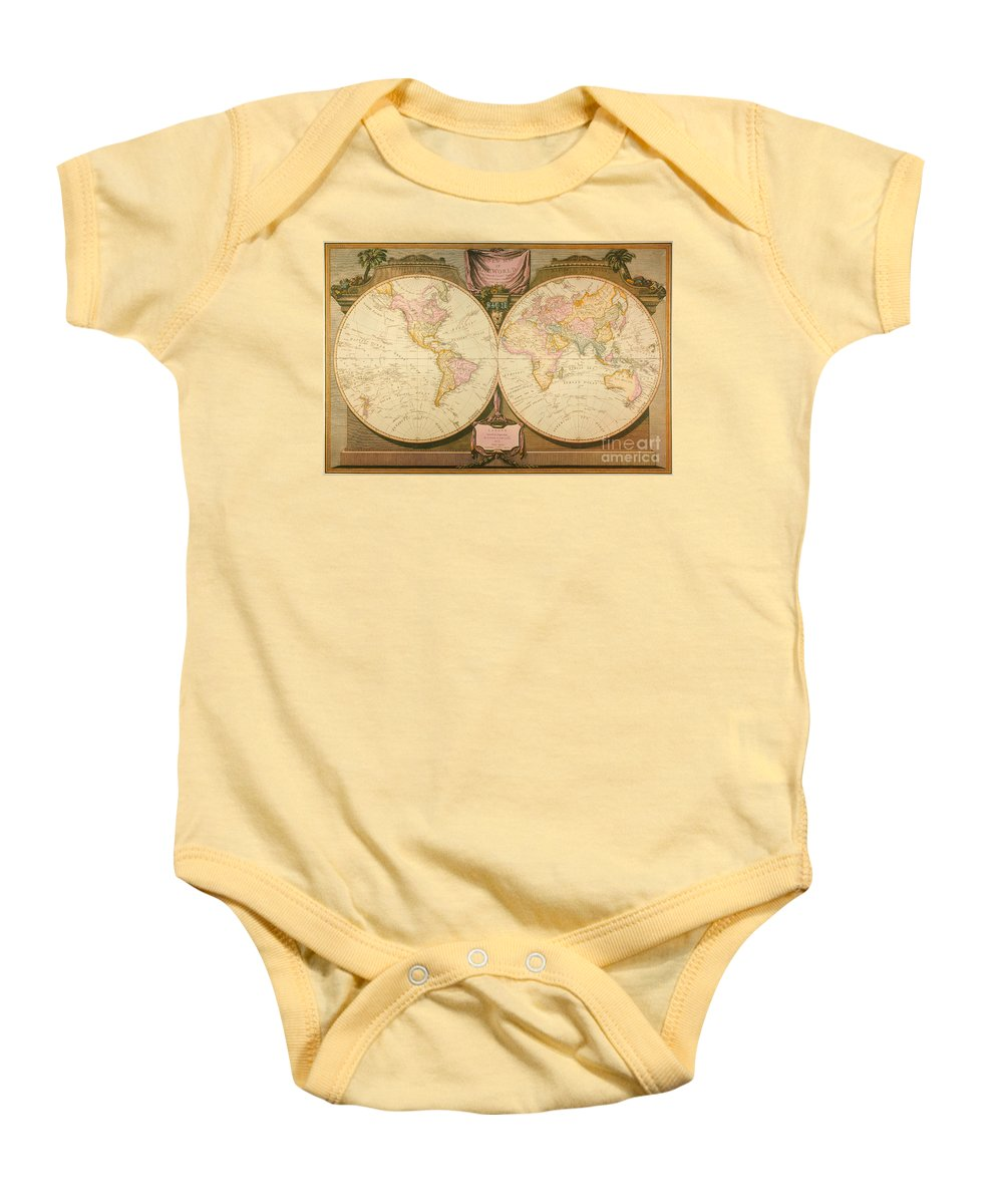 1770s Baby Onesie featuring the painting Captain Cook: Map, 1808 by Granger