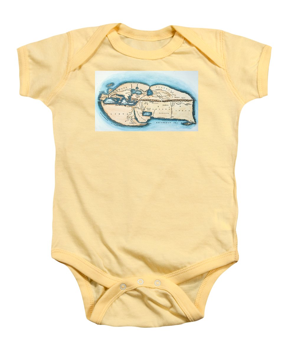 1st Century Baby Onesie featuring the painting Strabo World Map, C20 A.d by Granger