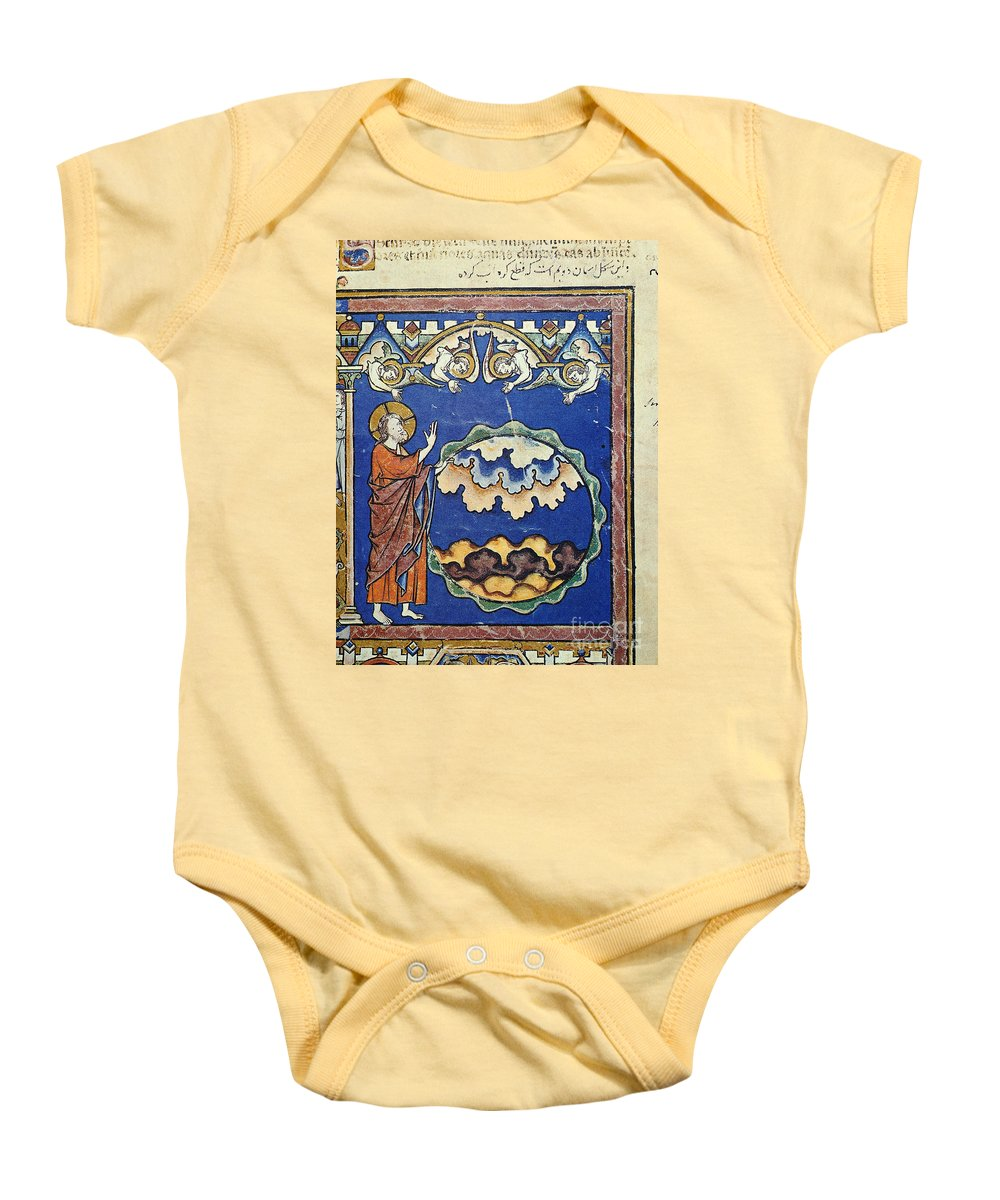 1250s Baby Onesie featuring the painting Day Two Of Creation by Granger