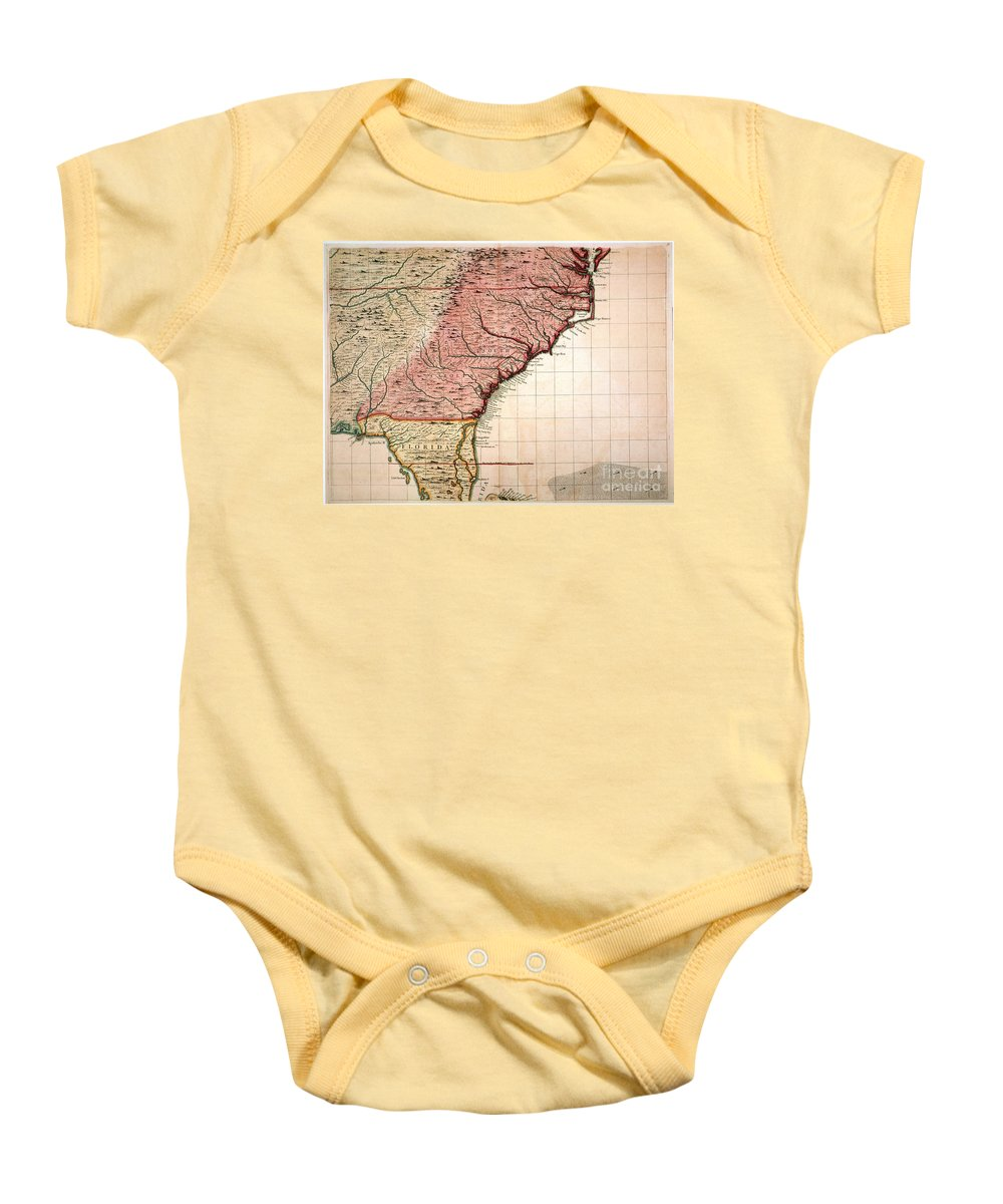 1733 Baby Onesie featuring the painting Colonial America Map, 1733 by Granger