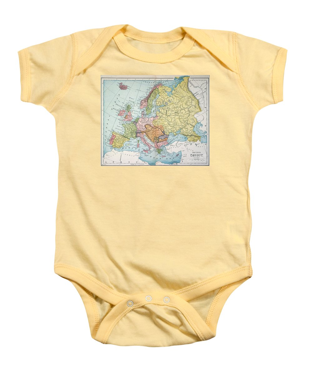 1885 Baby Onesie featuring the painting Map: Europe, 1885 by Granger