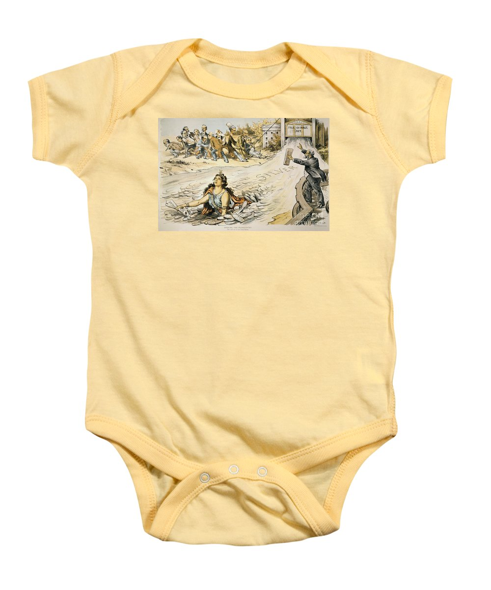 1890 Baby Onesie featuring the painting Free Silver Cartoon, 1890 by Granger
