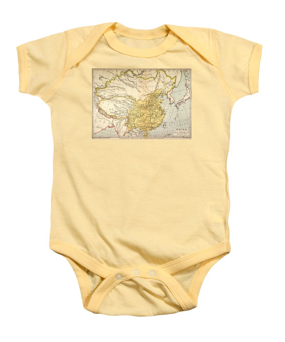 1910 Baby Onesie featuring the painting Map: China, 1910 by Granger