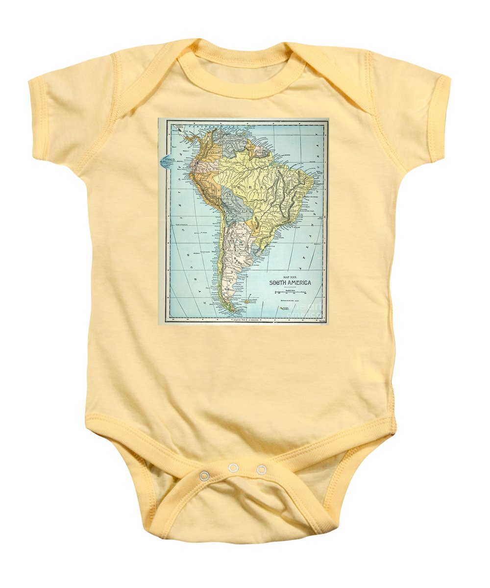 1890 Baby Onesie featuring the painting South America: Map, C1890 by Granger