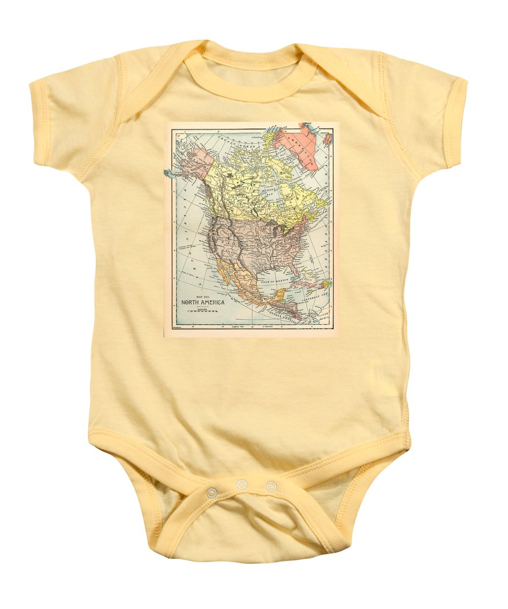 1890 Baby Onesie featuring the painting Map: North America, 1890 by Granger