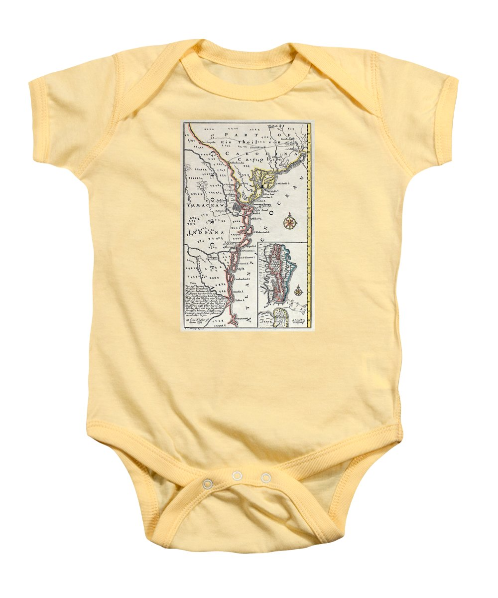 18th Century Baby Onesie featuring the painting Map: North America, C1700 by Granger