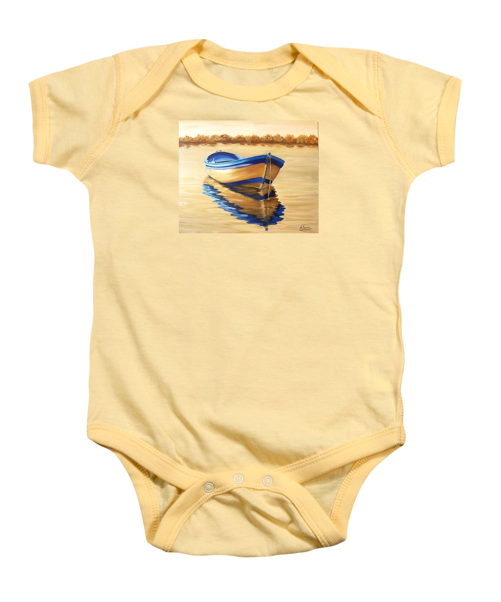 Still Life Baby Onesie featuring the painting Lake by Natalia Tejera