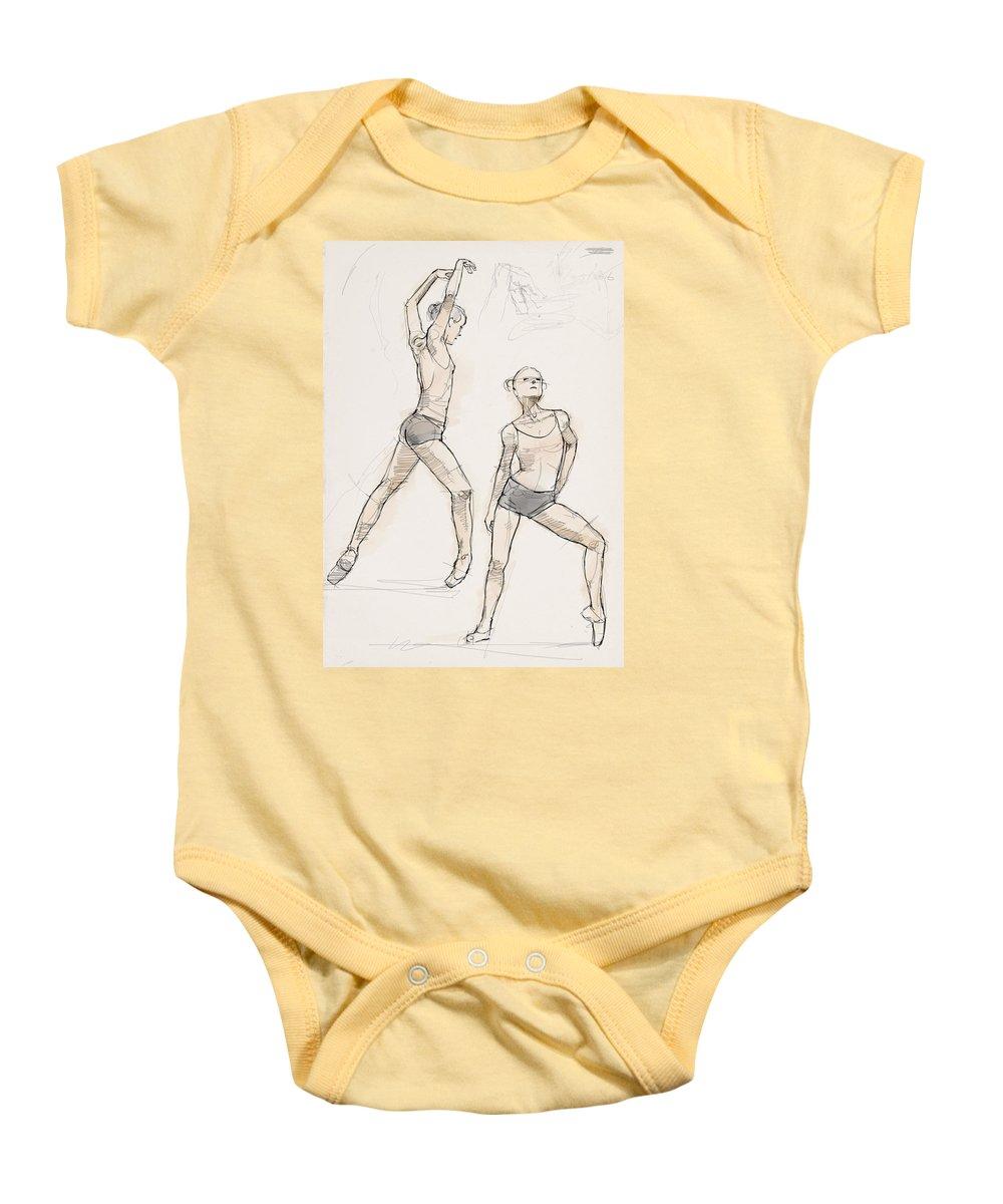 Ink Baby Onesie featuring the drawing Dance Studies by H James Hoff