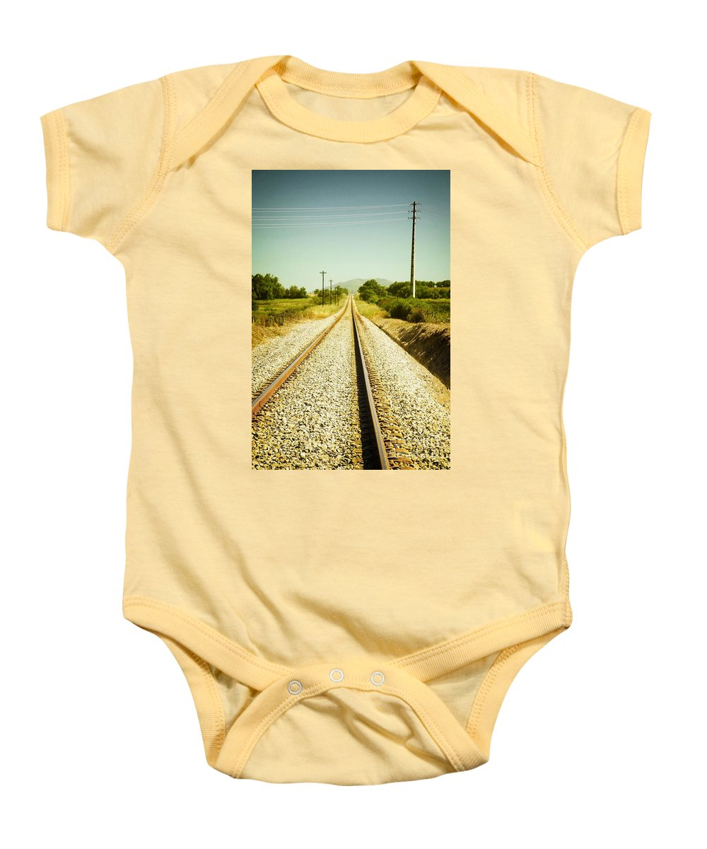 Vertical Baby Onesie featuring the photograph Empty Railway by Carlos Caetano