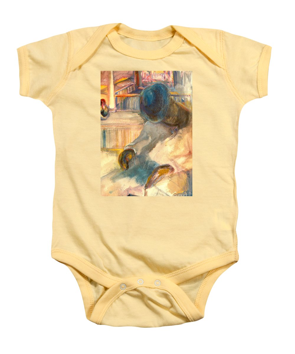 Watercolor Baby Onesie featuring the painting Mr Hunters Porch by Daun Soden-Greene