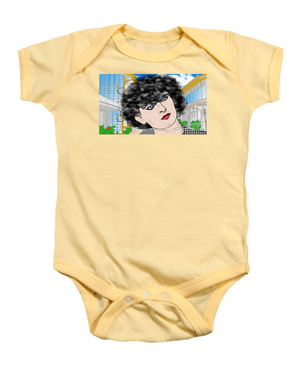 Portrait Baby Onesie featuring the drawing Portrait With Adonit Pixel. by Silvano Franzi