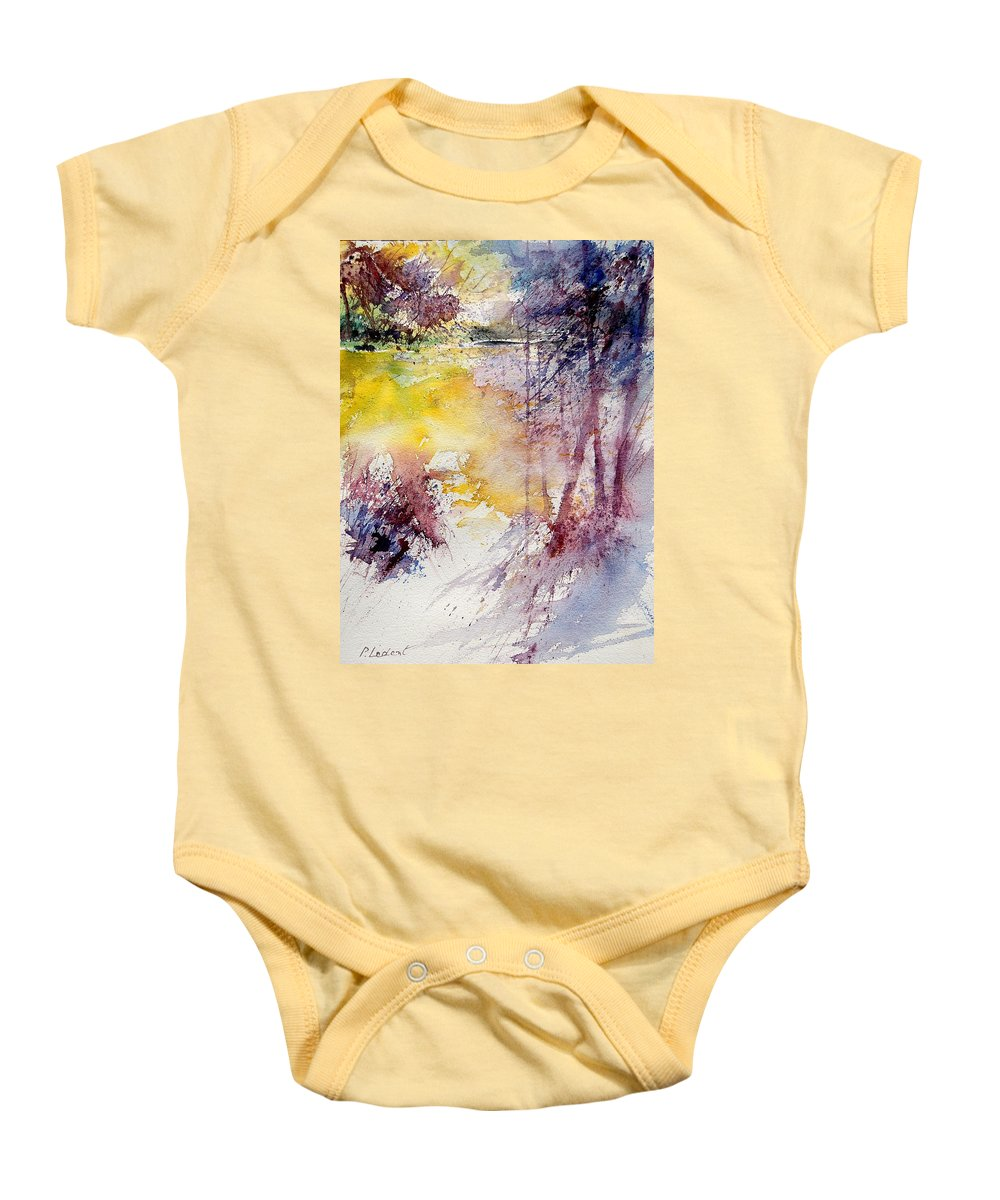 River Baby Onesie featuring the painting Watercolor 040908 by Pol Ledent