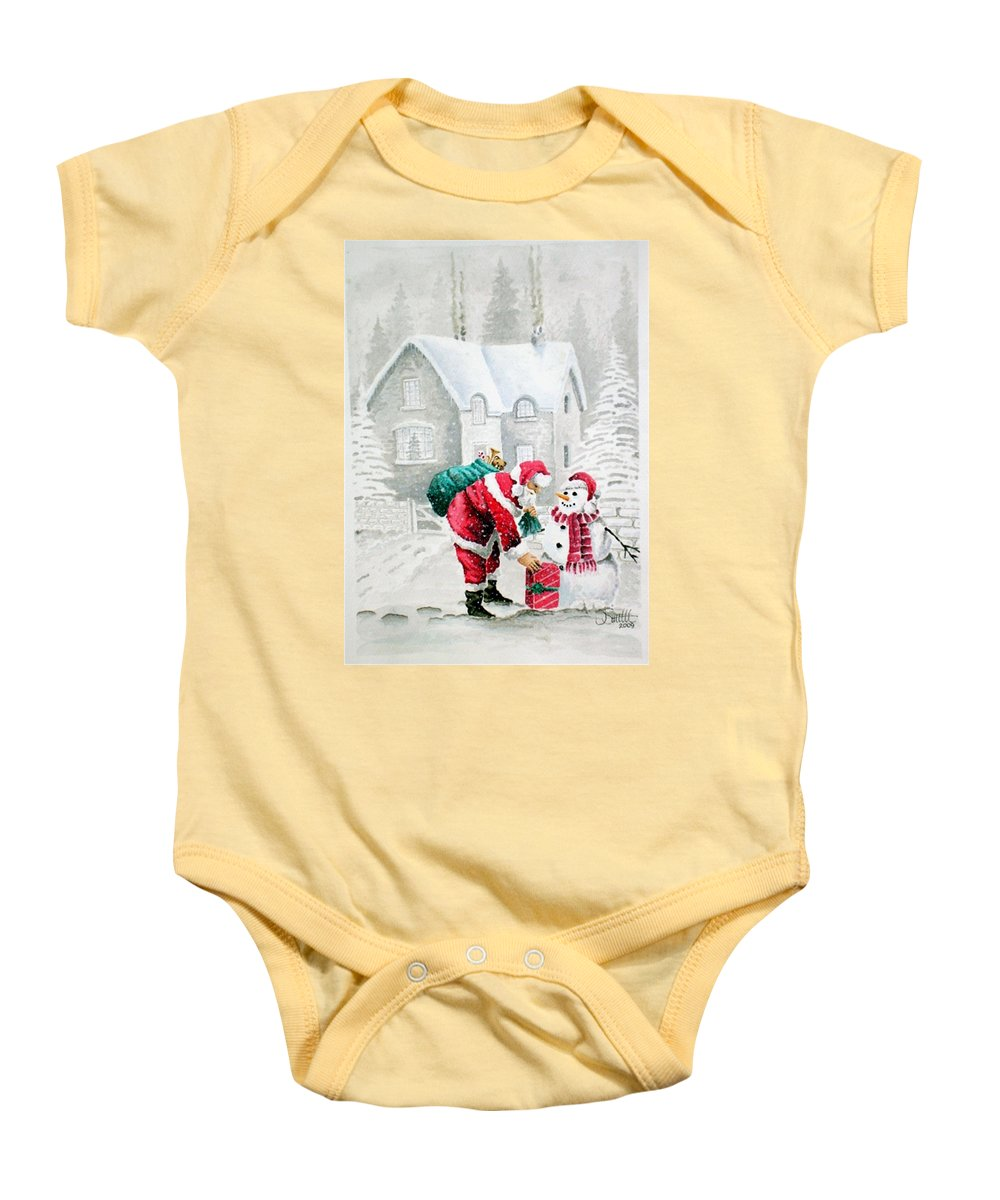 Christmas Baby Onesie featuring the painting White Christmas by Jimmy Smith