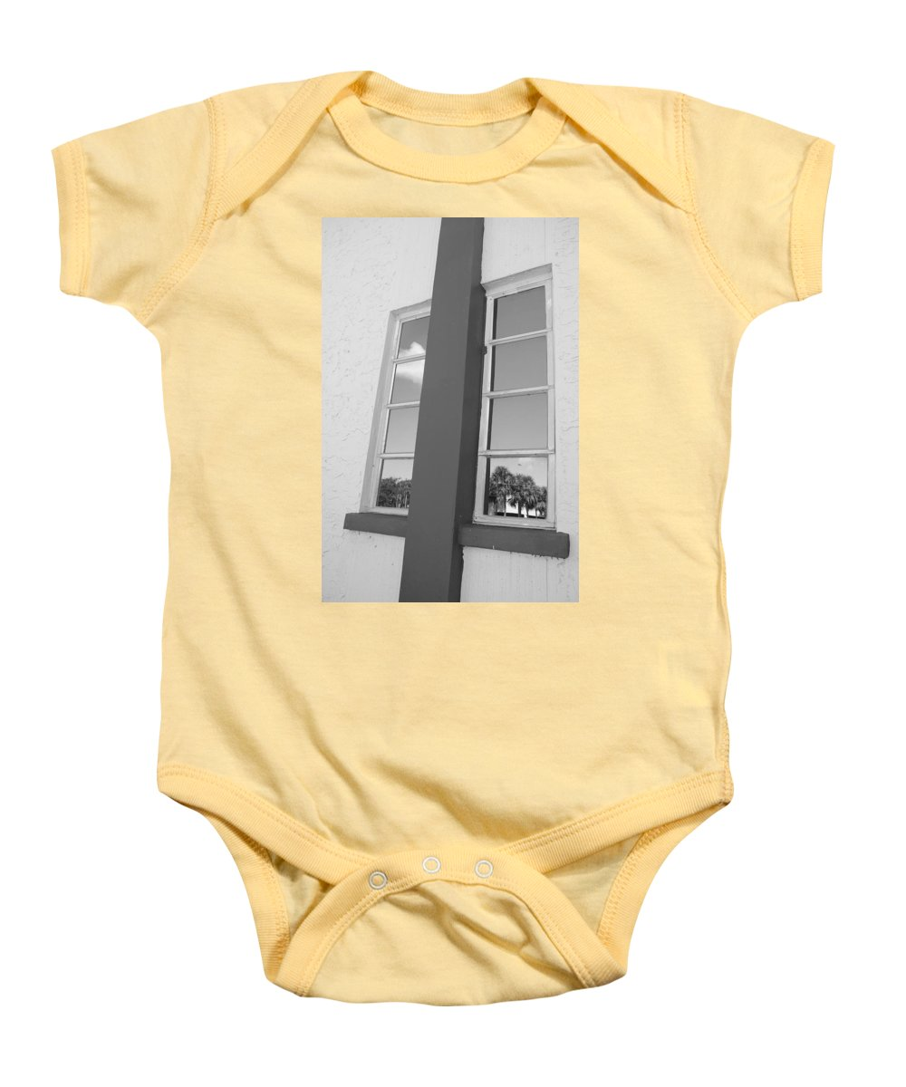 Black And White Baby Onesie featuring the photograph Window T Glass by Rob Hans