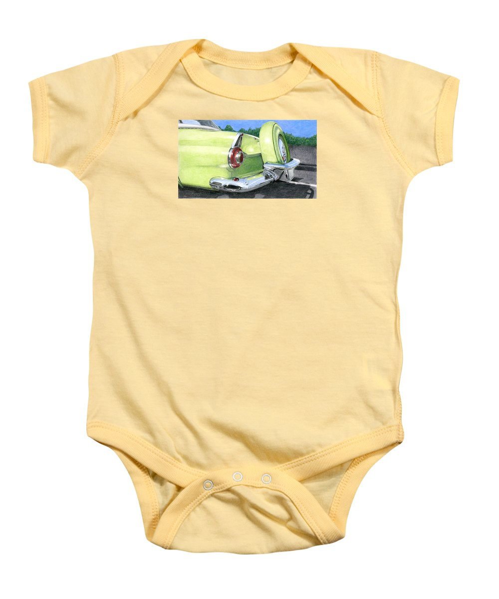 Classic Baby Onesie featuring the drawing 1956 Ford Thunderbird by Rob De Vries
