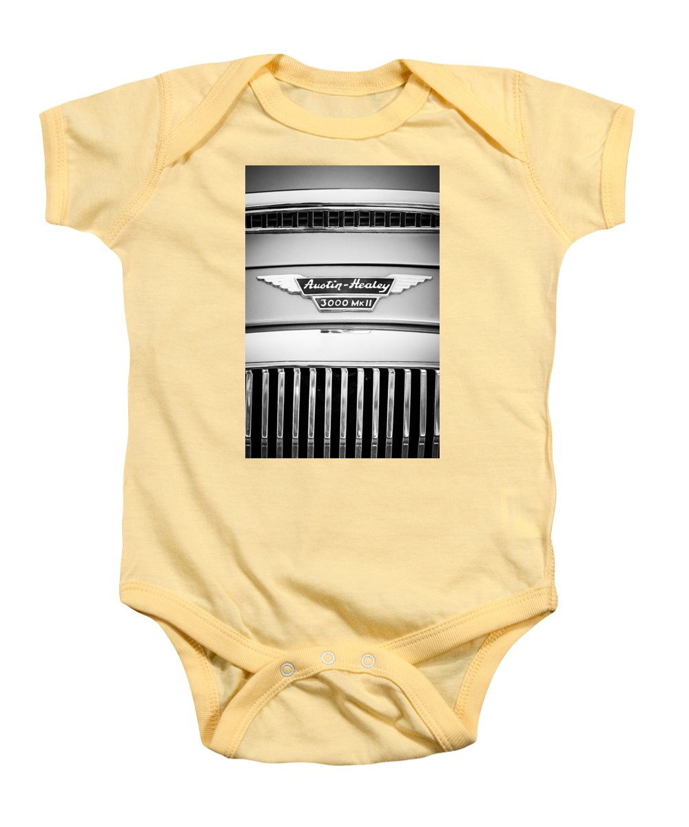 1963 Austin-healey 3000 Mk Ii Grille Emblem Baby Onesie featuring the photograph 1963 Austin-healey 3000 Mk II Black And White by Jill Reger