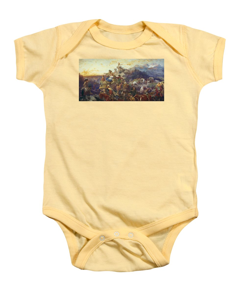 Westward Baby Onesie featuring the painting Westward The Course Of Empire Takes Its Way by Emanuel Gottlieb Leutze