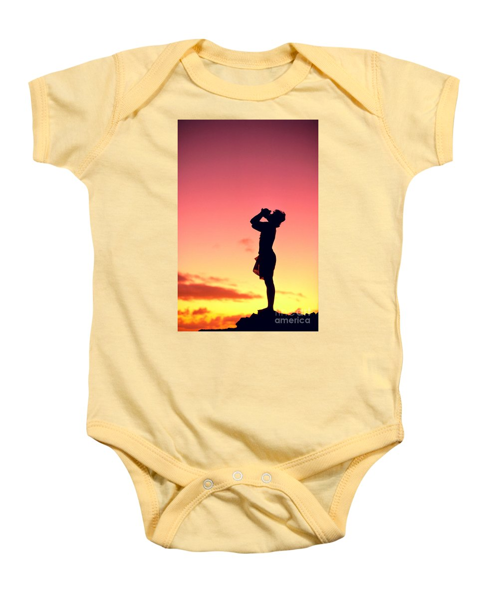 Aloha Baby Onesie featuring the photograph Conch Shell Blower by William Waterfall - Printscapes