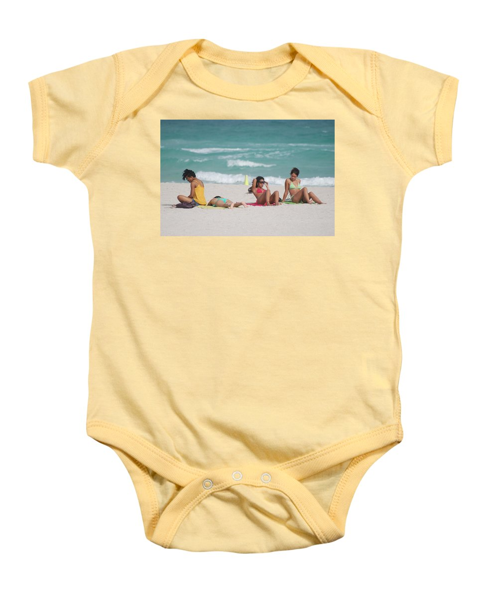 Sea Scape Baby Onesie featuring the photograph 3 Up 1 Down At The Beach by Rob Hans
