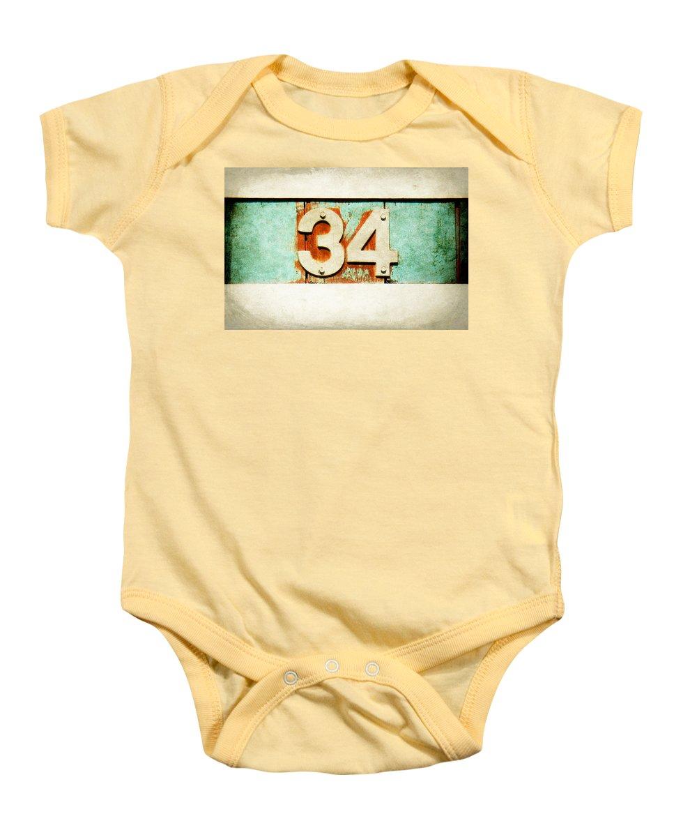 34 Baby Onesie featuring the digital art 34 On Weathered Aqua by Valerie Reeves