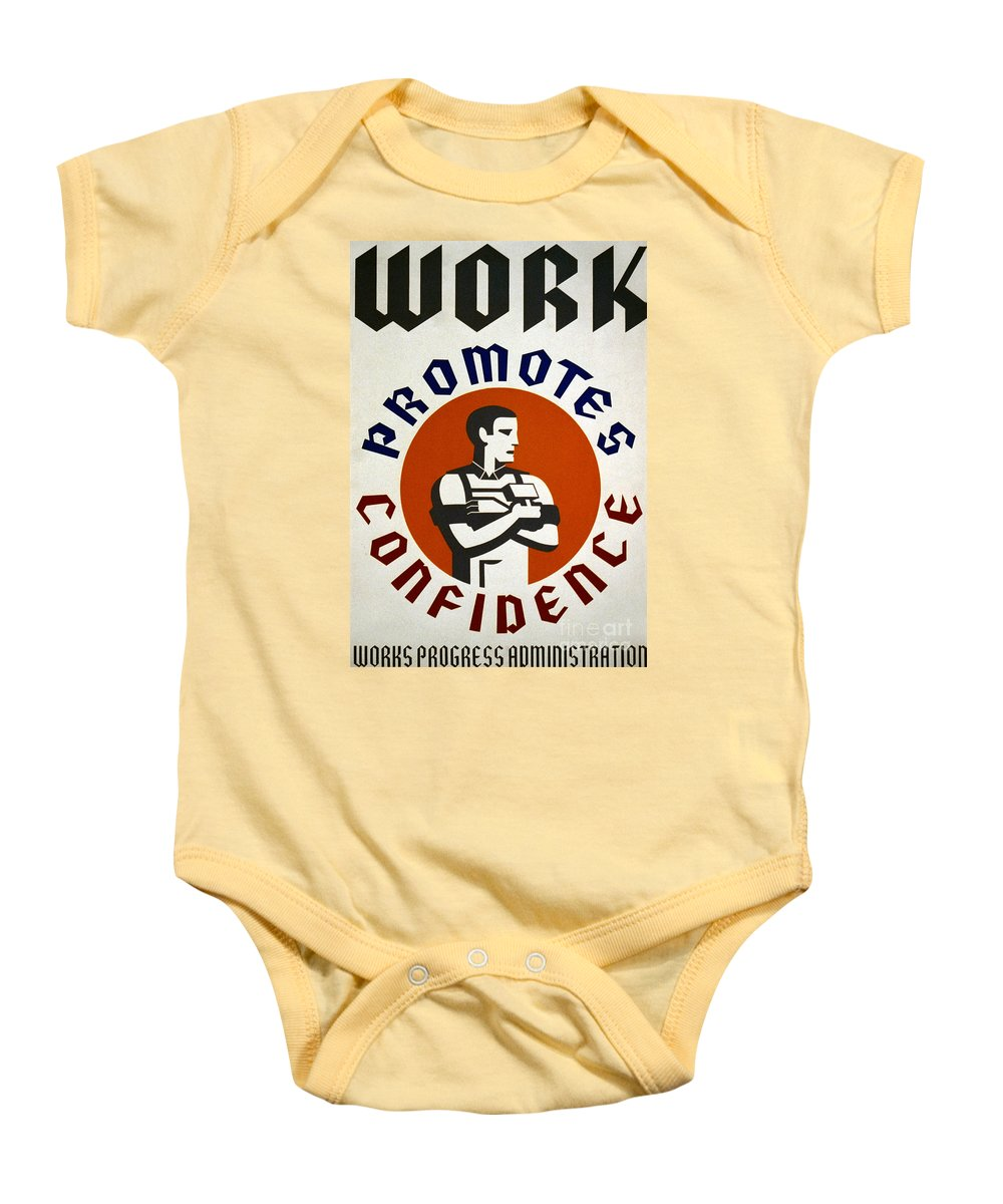 1930s Baby Onesie featuring the photograph New Deal: Wpa Poster by Granger