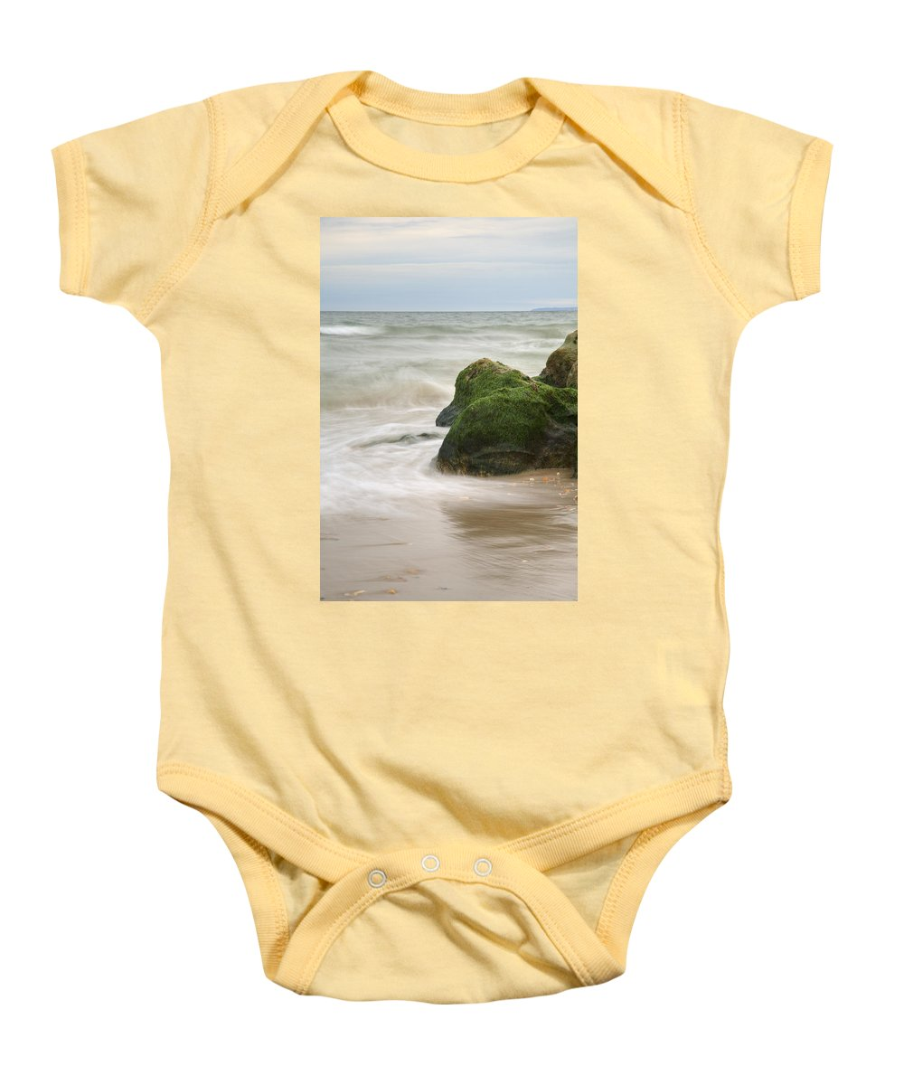 Highcliffe Baby Onesie featuring the photograph Highcliffe Beach In Dorset by Ian Middleton