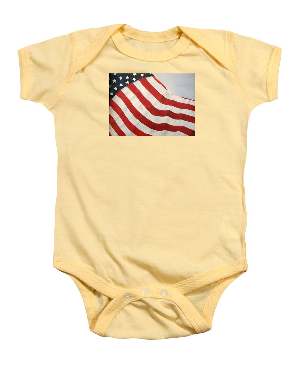 Flag Baby Onesie featuring the painting A Little Glory by Carol Sweetwood