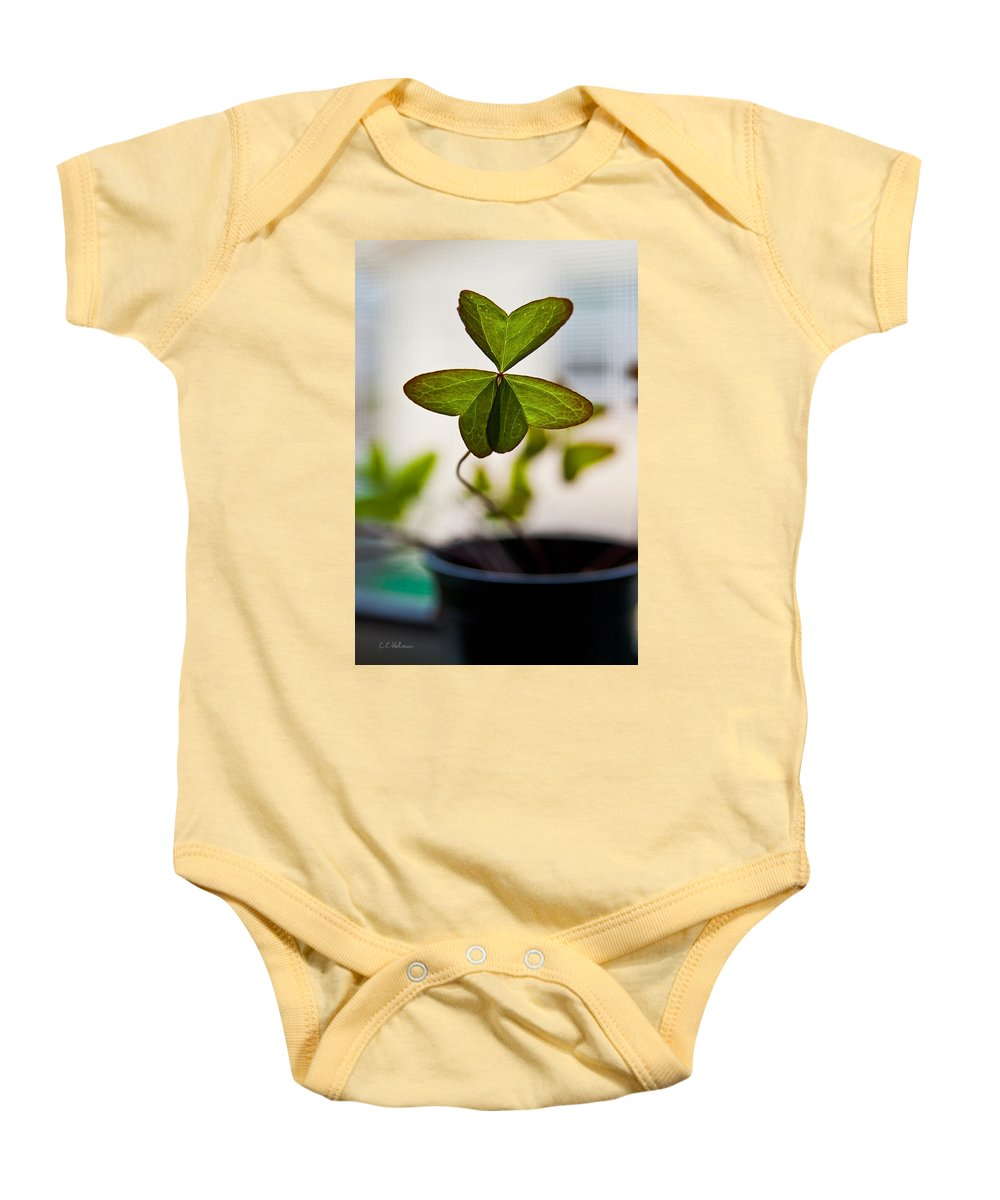 Clover Baby Onesie featuring the photograph A Piece Of Luck by Christopher Holmes