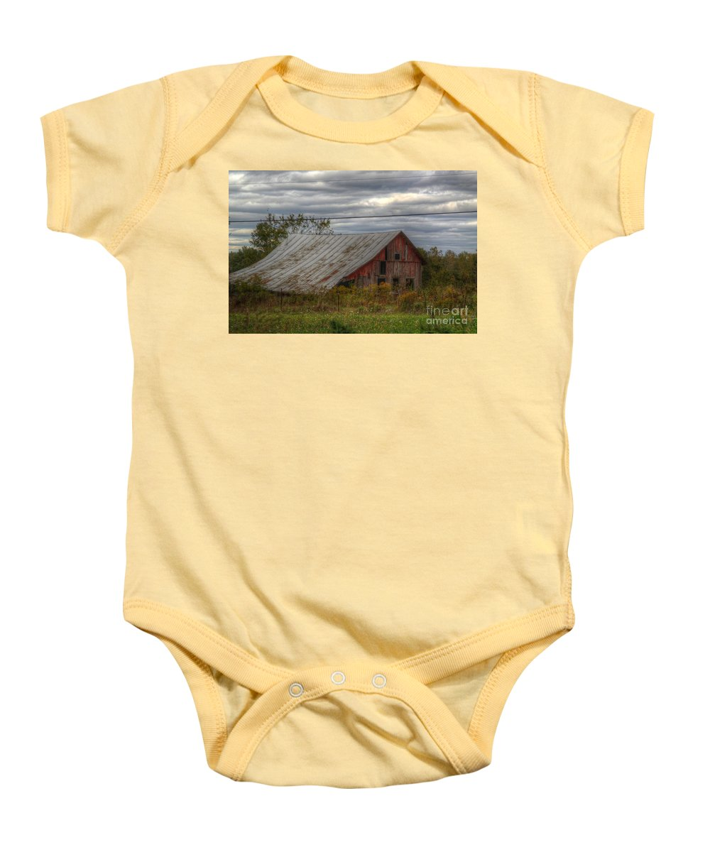 Barn Baby Onesie featuring the photograph A Slow Death by Robert Pearson