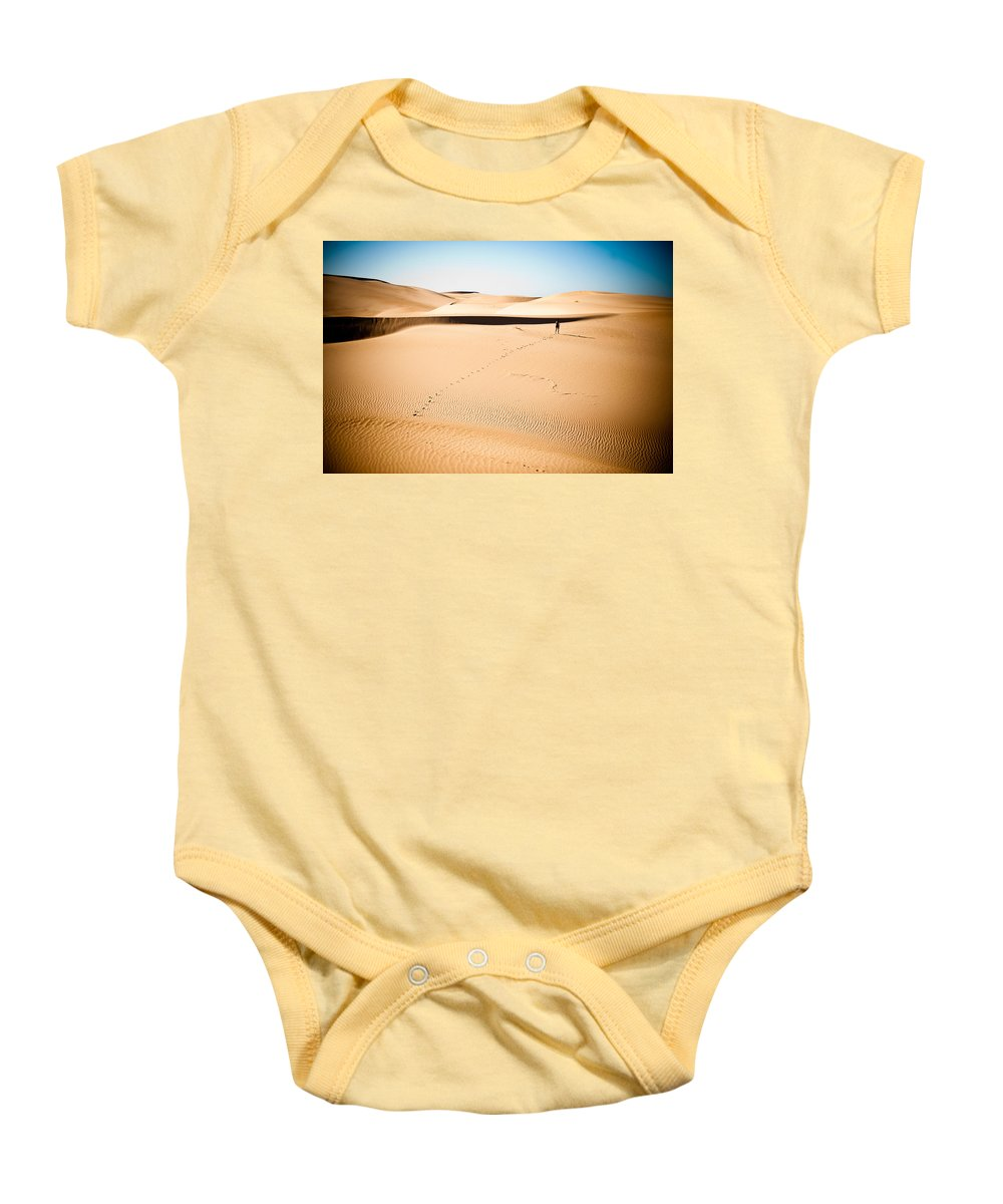 Sand Baby Onesie featuring the photograph A Solitary Walk by Scott Sawyer