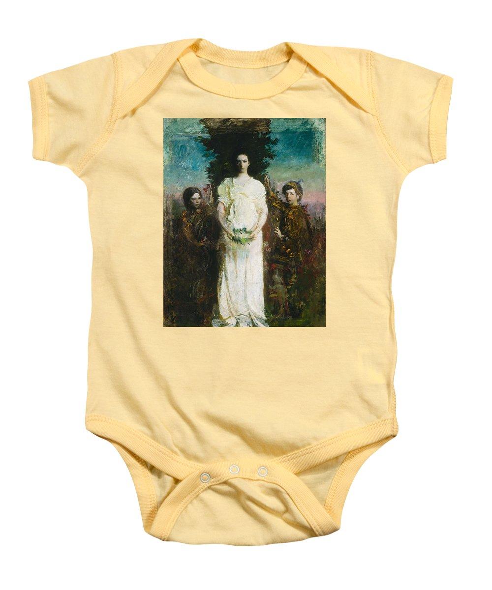 Girl Baby Onesie featuring the painting Abbott Handerson Thayer - My Children by Abbott Handerson Thayer