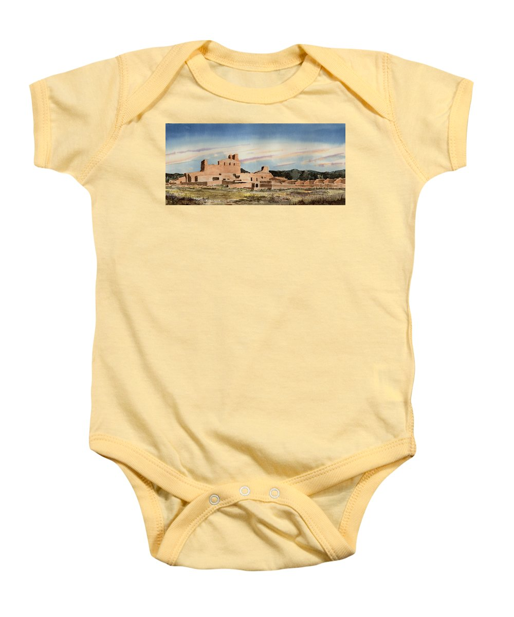 Mission Baby Onesie featuring the painting Abo Mission by Sam Sidders