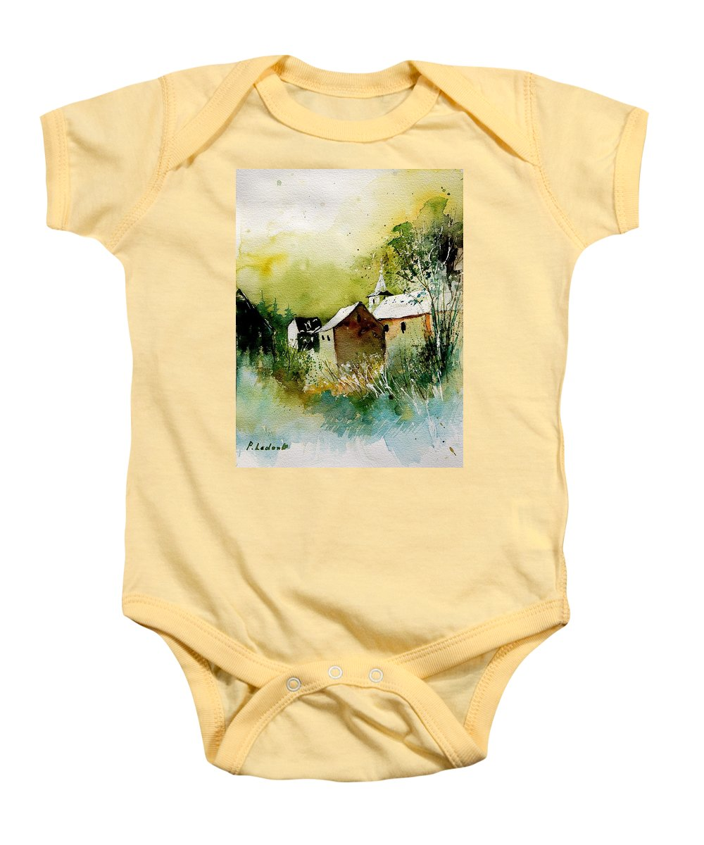 Village Baby Onesie featuring the painting Abstract 260608 by Pol Ledent