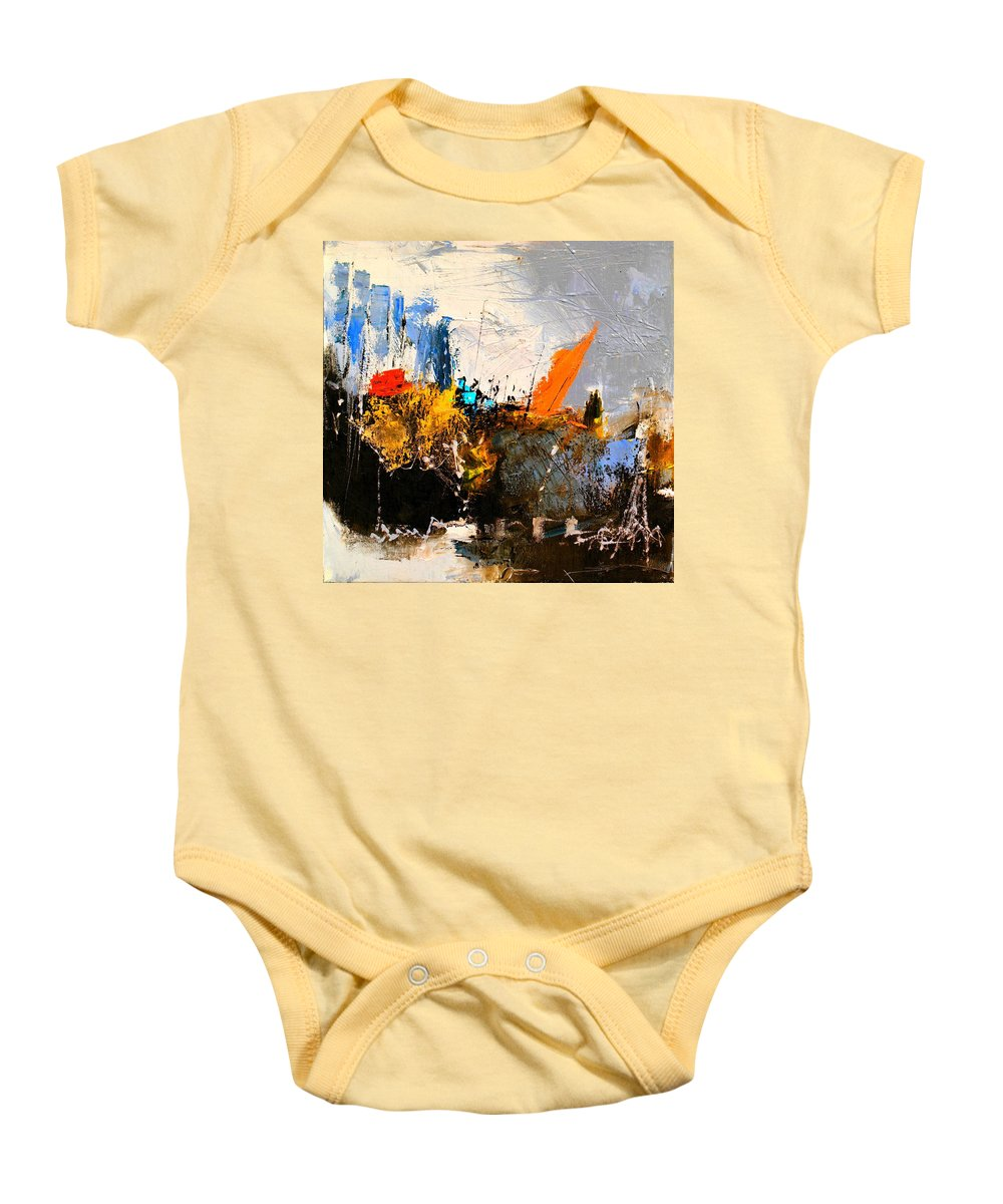 Abstract Baby Onesie featuring the painting Abstract 517032 by Pol Ledent
