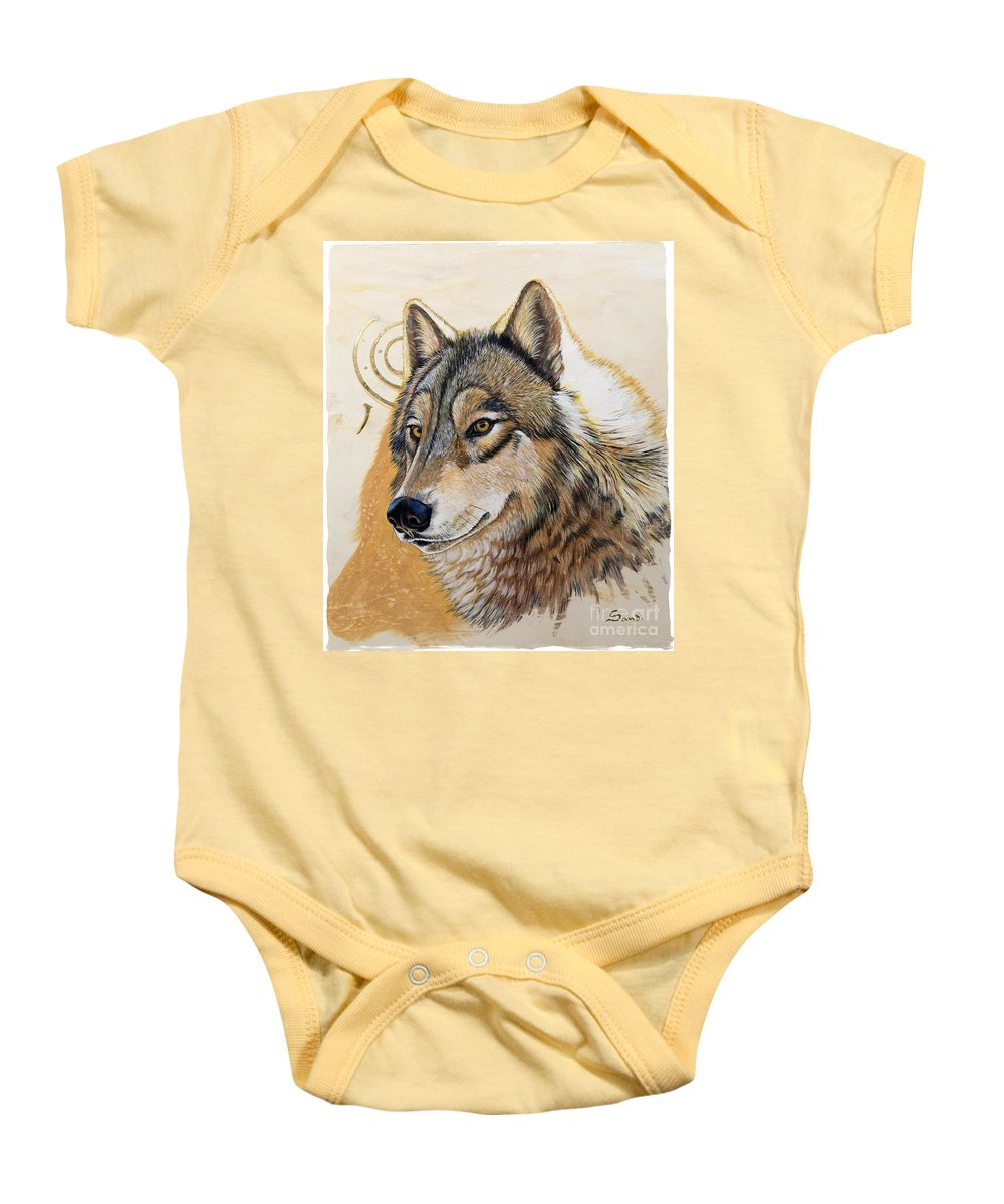 Acrylics Baby Onesie featuring the painting Adobe Gold by Sandi Baker