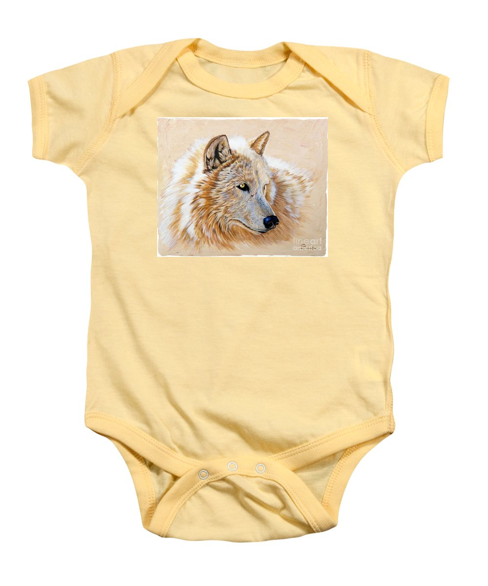 Acrylic Baby Onesie featuring the painting Adobe White by Sandi Baker