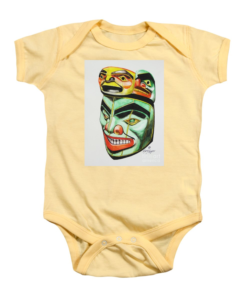 Alaska Baby Onesie featuring the mixed media Alaska Masks by Mary Rogers