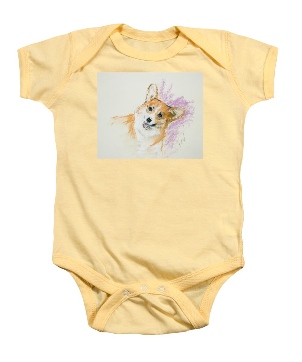 Corgi Baby Onesie featuring the drawing All Smiles by Cori Solomon