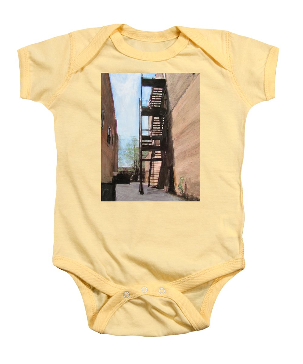 Alley Baby Onesie featuring the mixed media Alley W Fire Escape by Anita Burgermeister