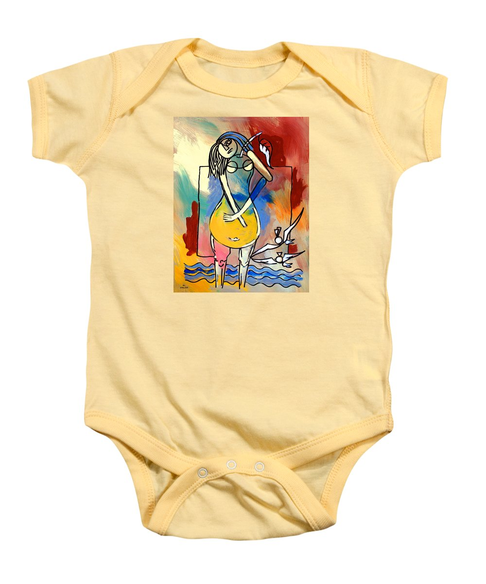 Woman Baby Onesie featuring the painting Ameeba- Pear Woman by Mr AMeeBA