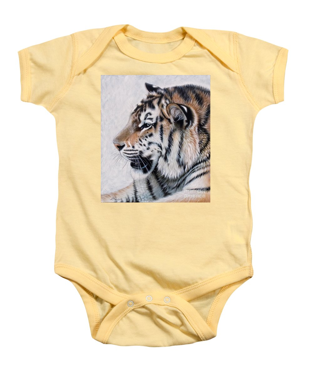 Acrylic Baby Onesie featuring the painting Amur by Sandi Baker