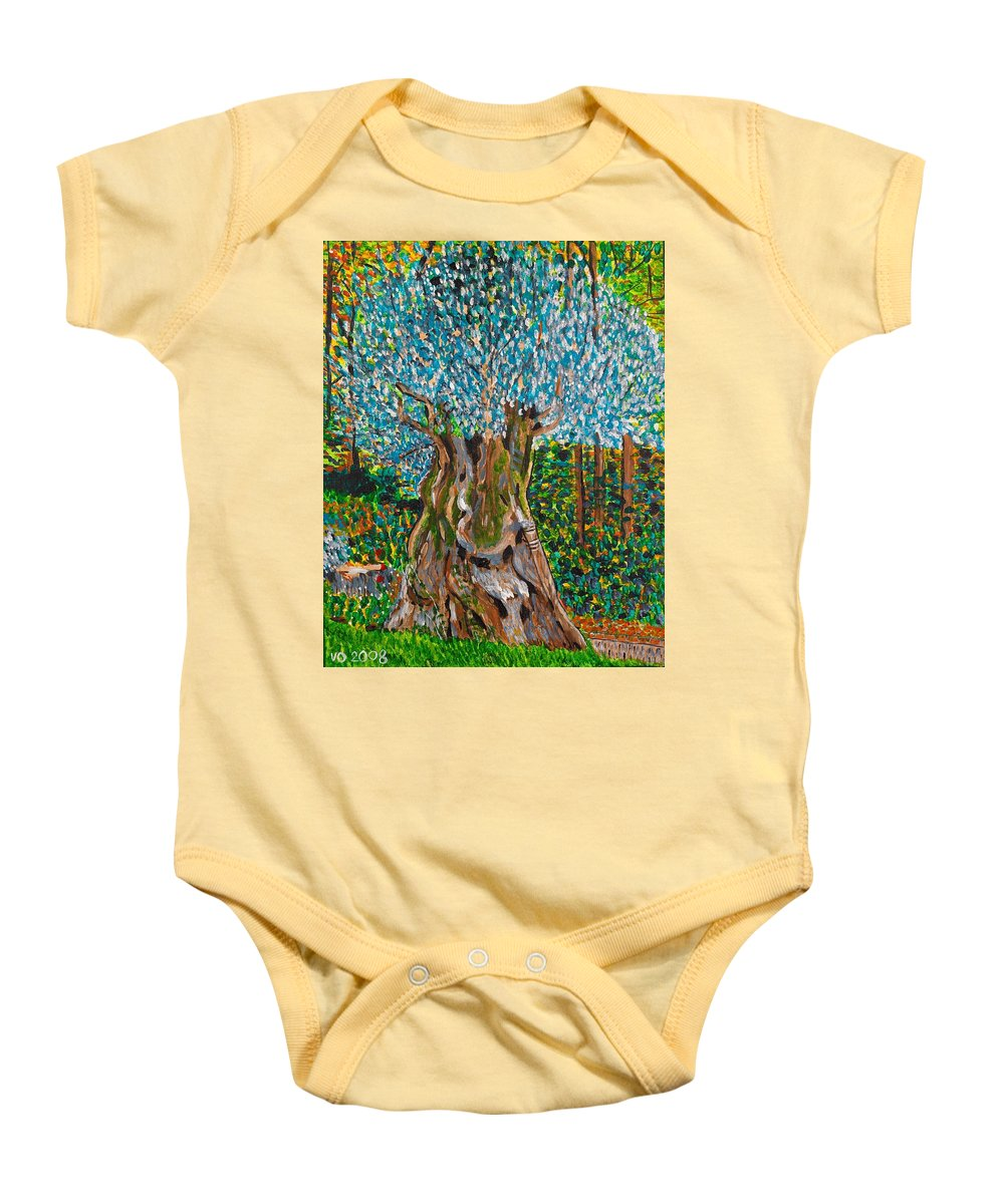 Olive Baby Onesie featuring the painting Ancient Olive Tree by Valerie Ornstein