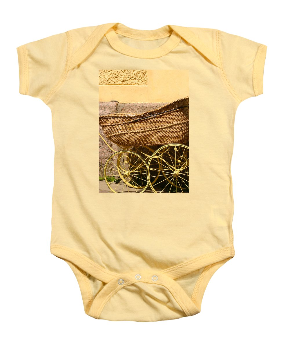 Baby Baby Onesie featuring the photograph Ancient Swedish Baby Carriage by Dagmar Batyahav