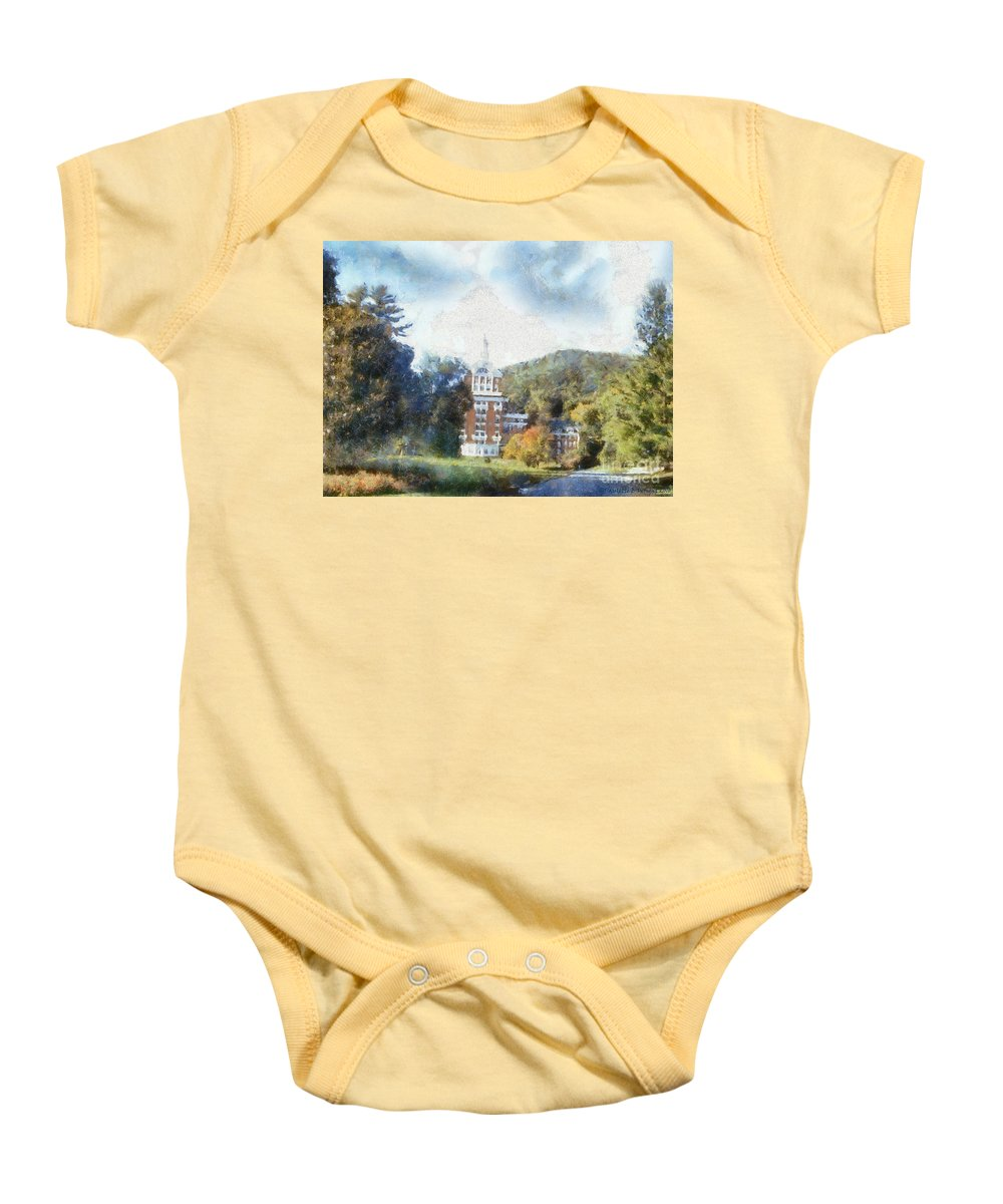 Homestead Baby Onesie featuring the photograph Approaching The Homestead by Paulette B Wright